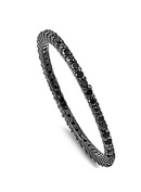 Sterling Silver Black Plated Classy Stackable Ring with Black Simulated Crystals on Square Half-Bezel Setting with Rhodium Finish, Band Width 1.5MM - Crazy2Shop