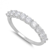 Sterling Silver Stacked Stone Ring with Round Clear CZ Stones