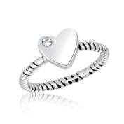 DaVinci Silver Heart Stackable Ring