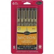 Sakura 50035 6-Piece Pigma Micron-01 Ink Pen Set, 0.25mm, Black