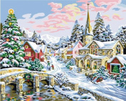 Diy oil painting, paint by number kit- Merry Christmas 16*50cm .