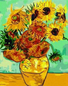 Diy home decor digital canvas oil painting by number kits worldwide famous oil painting Vase with Twelve Sunflowers by Van Gogh 16*50cm .