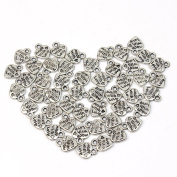1 X Lot 50 Silver Plated MADE WITH LOVE Heart Charms 0.9cm Pendants Beads DIY New