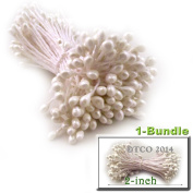 The Crafts Outlet Bundles of 144 Stems Vintage Pearlized Floral Stamen for Scrapbooking, 5.1cm , Satin White Head
