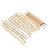 Twinklefilter Pack of 13 Wooden Clay Sculpture Knife Pottery Sharpen Modelling Ball Stylus Polymer Tools Set