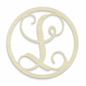 UNFINISHEDWOODCO Single Letter Circle Monogram-L, 48cm , Unfinished
