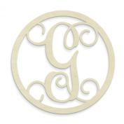 UNFINISHEDWOODCO Single Letter Circle Monogram-G, 48cm , Unfinished