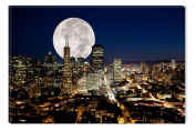 Full Moon over the city Canvas Wall Art, 5 Stars Gift 60cm x 90cm Startonight