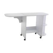 SEI Laminate Wheeled Sewing Table, White