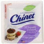 Chinet Classic Dessert Plate, White, Square, 16cm , 35 Count