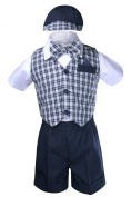 Unotux 5pc Boy Cheques Gingham Eton Formal Navy Blue Short Vest Set Suit Hat S-4T (M: