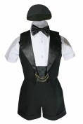 Unotux Baptism Christening Boy Formal Vest Set Shorts Black Suit Gown Outfit Hat (4: