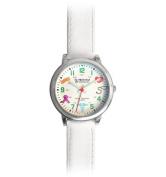 Prestige Medical ~ Medical Symbols Watch, White Leather Band