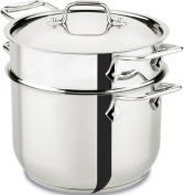 All-Clad E414S664 Stainless Steel Pasta Pot and Insert Cookware, 5.7l, Silver