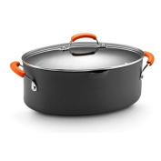 Rachael Ray Hard Anodized II Nonstick Dishwasher Safe 7.6l Covered Oval Pasta Pot, Orange