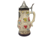 Germany Edelweiss Coat of Arms Collectible Beer Stein with Ornate Metal Lid