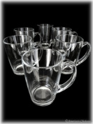 Set 6 Tempered Glass 300ml Hot Cold Drink Coffee/Tea Mugs Glasses -Made in France