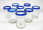 Mexican Glass Blue Rim Tumblers Set of 8