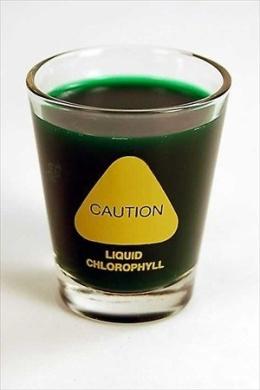 Wheatgrass Shot Glass - 60ml - Humorous: Caution... Liquid Chlorophyll - Wheat Grass Juice Shotglass