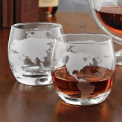 Etched Globe Whiskey Glasses -Set of 2