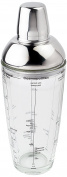 """Visol """"Mystic"""" Glass and Stainless Steel Cocktail Shaker, 680ml, Chrome"""
