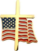 American Flag Cross Lapel Pin