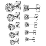 316L Surgical Stainless Steel Round Clear Cubic Zirconia Stud Earring set
