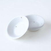 """""""What Is It."""" Reusable White Soup or Cereal Bowls with Ant Design, 15cm Melamine, Set of 4"""