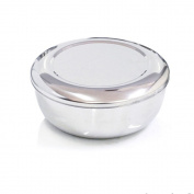 Korean Stainless Steel Rice Bowl + Lid Hygienic Sanitary Dish Kore Warm Bowl