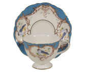 Gracie China by Coastline Imports 210ml Tea Cup and Saucer Scallop Edge, Peacock Blue Bird