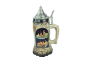 Classic Deutshland Engraved Collectible Beer Stein of Scenic German Towns with Ornate Metal Lid