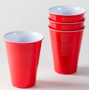 """What Is It."" LARGER SIZE 530ml, Reusable Red Melamine Cups / Glasses, Set of 4"