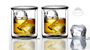 Sun's Tea (TM) 270ml Strong Double Wall Manhattan Style old-fashioned Scotch/Whiskey Glasses, Set of 2