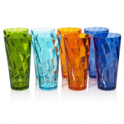 Optix Break-resistant Plastic 770ml Iced Tea Cup Tumbler - Set of 8 in 4 Assorted Colours