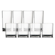 8pc Unbreakable Clear Tritan Plastic Cup Tumblers, four 410ml rocks and four 530ml water