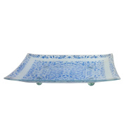 Blue Florentine Designed Serving Tray with Frosted Ball Legs