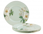 Gracie Bone China 19cm Dessert Plate, Blue White Magnolia, Set of 4