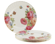 Gracie Bone China 19cm Dessert Plate, Pink Sandra's Rose, Set of 4