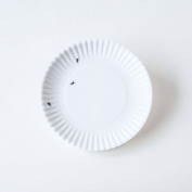 """""""What Is It."""" Reusable White Lunch Plate with Ant Design, 19cm Melamine, Set of 4"""