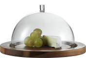 Jenaer Glas Concept Storage Collection Cheese Dome with Acacia Plate, 24cm