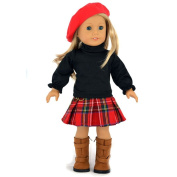Ebuddy ® 3pc Red Hat+top+grid Skirt School Outfit for 46cm American Girl Doll Clothes
