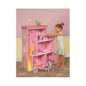 Large Doll House Fantasy Castle Wooden Dollhouse Finished 4 Rooms Fits Barbie