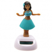 Solar Powered Dancing Hula Girl with Blue Skirt