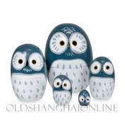 Wood Nesting Doll - Owl (Blue)
