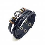 Punk Men Women Fiver-pointed Star Circle Rings Artificial Leather Bracelet Wristband - Black