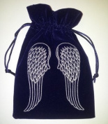Angel Wings Embroidered Navy Luxury Velvet Drawstring Tarot / Oracle Card Bag