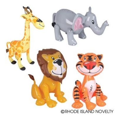 ZOO ANIMAL INFLATABLES / FIVE ZOO INFLATES / TIGER LION ZEBRA ELEPHANT GIRAFFE/Jungle/Safari/Party/Decor/Favour/prize giveaway