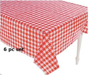(6) Plastic Red and White Chequered Tablecloths - 6 Pc - Picnic Table Covers