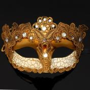Venetian Goddess Masquerade Mask Made of Resin with Diamonds [Gold]