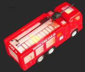 """WolVol Electric Fire Truck Toy with Lights, Sirens and Sound (""""fire alarm, lets go"""", """"out of my way""""...), goes around and changes directions on contact (Battery Powered) - Great Gift Toys for Kids"""